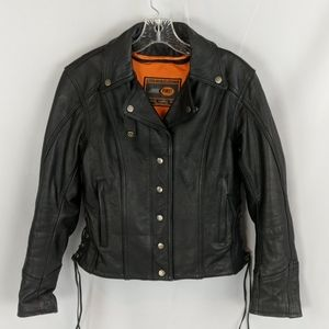 First Classics black  leather motorcycle jacket
